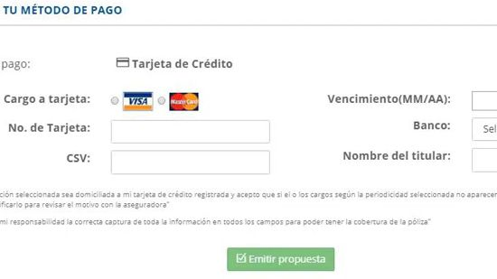 Ingreso de datos de tarjeta de crédito para seguro de auto - traigoseguro.com