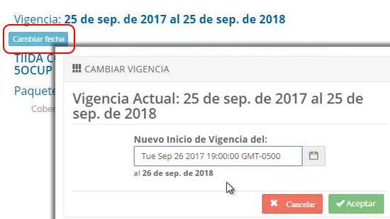 Selección de fecha de inicio de póliza de seguro de auto - traigoseguro.com